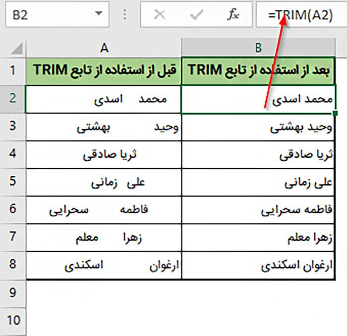 استفاده از تابع TRIM برای حذف فواصل اضافی در اکسل | حل مشکل گوشی