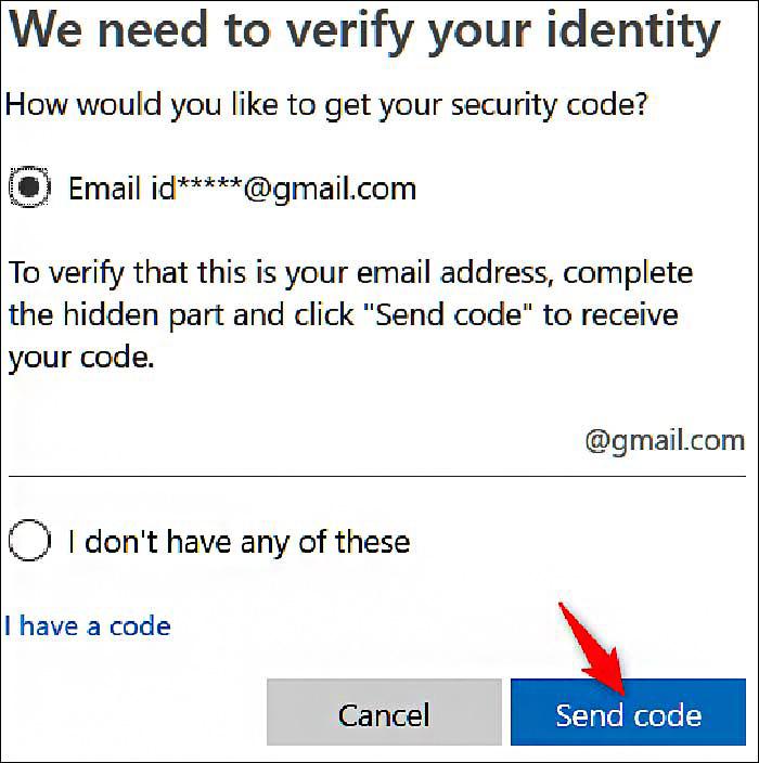 پنجره ی Send code | پشتیبان کامپیوتر