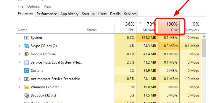 حل مشکل 100 شدن استفاده از هارد دیسک   رایانه کمک
