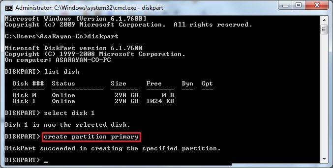 مدیریت پارتیشن ها با Diskpart | تعمیرات کامپیوتر و لپتاپ در محل